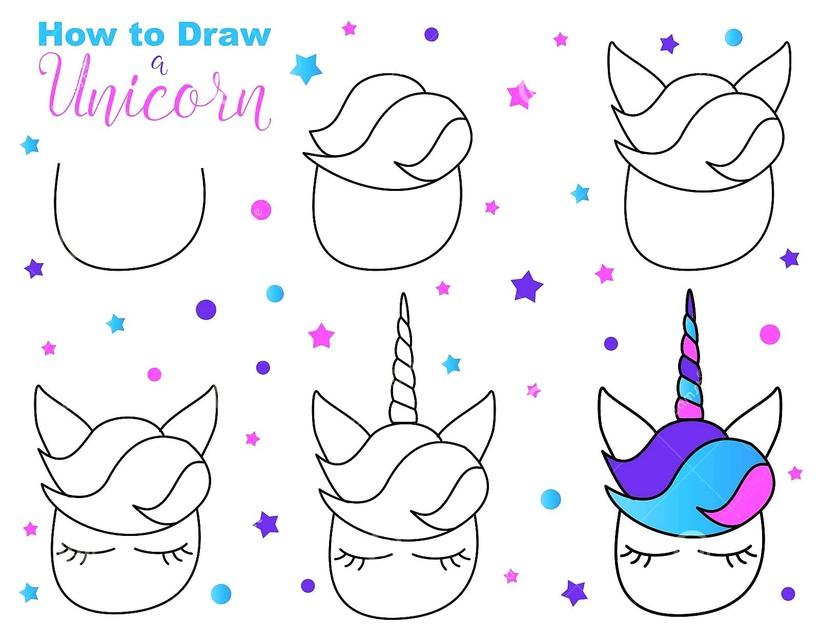 dibujos fáciles de unicornios kawaii para niños paso a paso