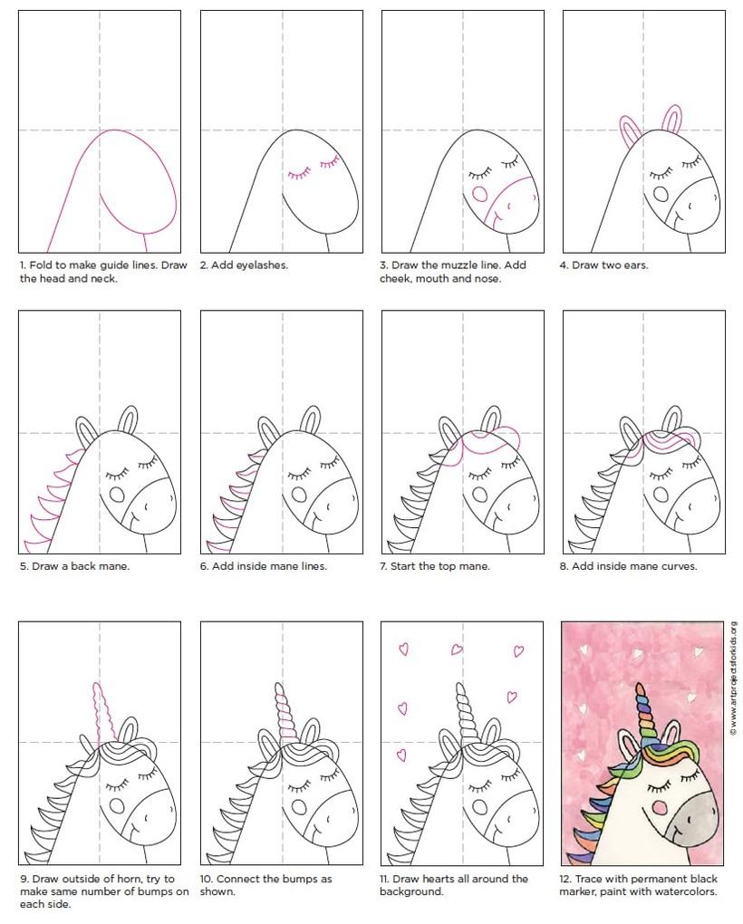 guía dibujos fáciles de unicornios kawaii para niños paso a paso