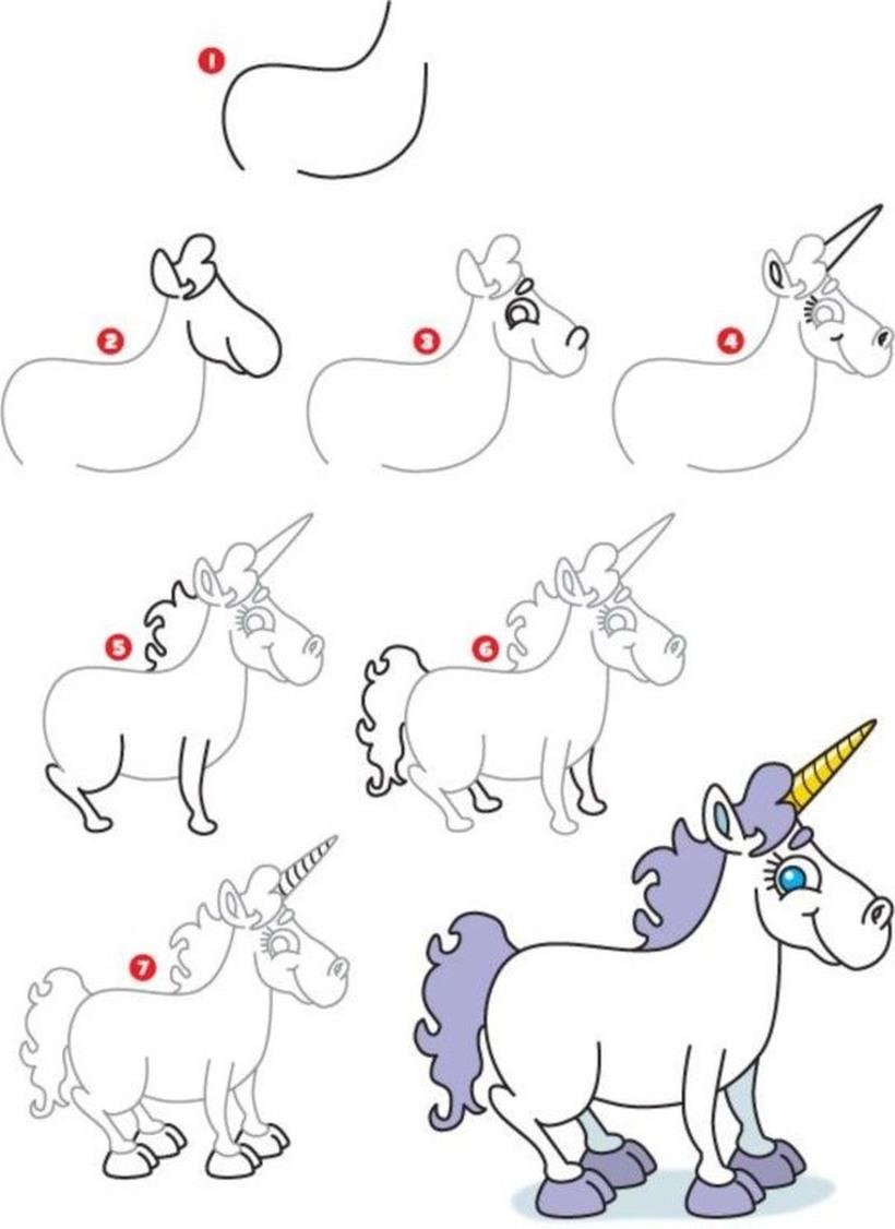 dibujo fácil de unicornio con gran cuerno para descargar y pintar paso a paso