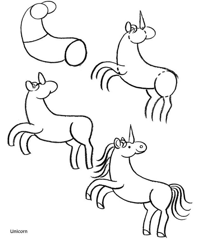 dibujo fácil de unicornio a lápiz para niños paso a paso hermoso animado