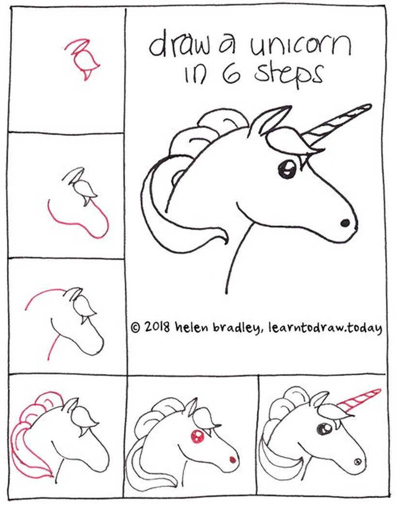 dibujar una cabeza de unicornio fácil en pocos pasos a lápiz