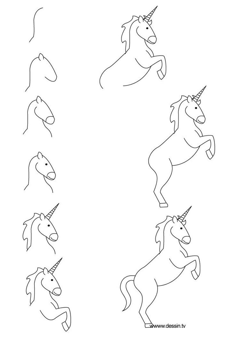 dibujos fáciles de unicornios en movimiento guía en pocos pasos