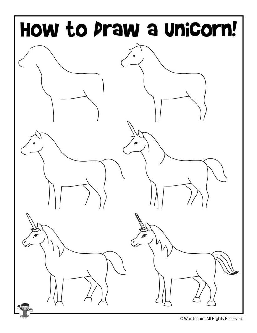 dibujos fáciles de unicornios tutorial para niños paso a paso