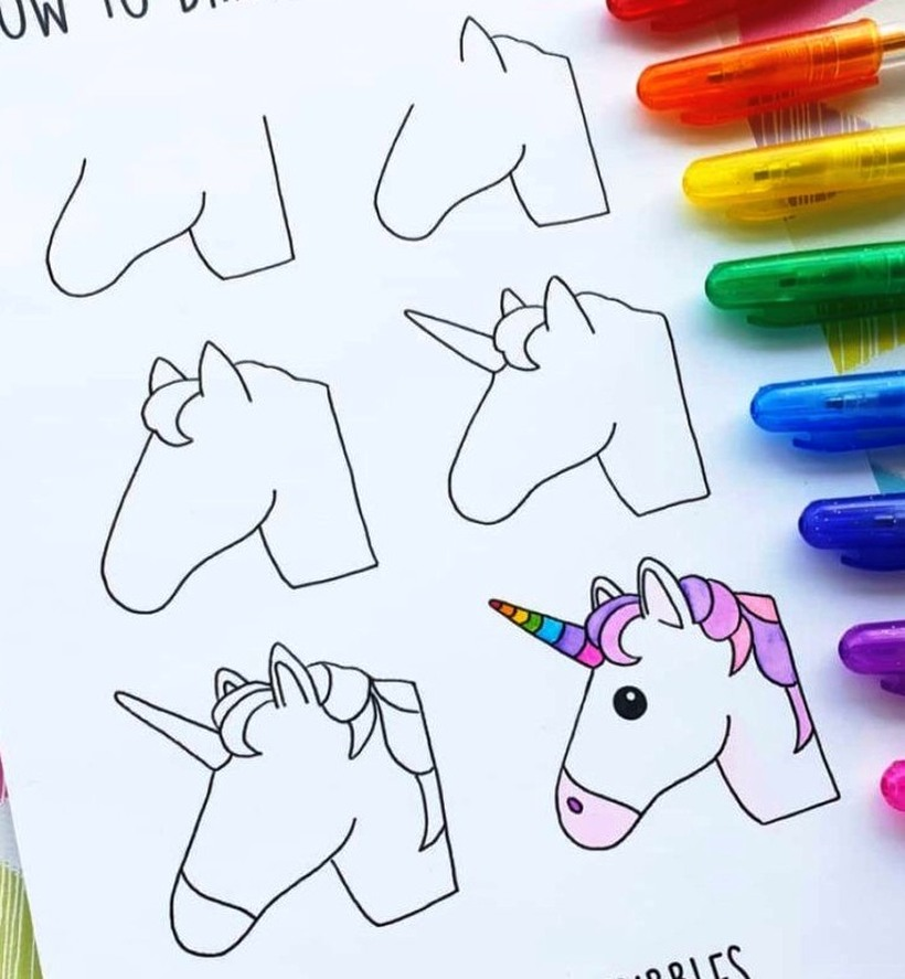 como dibujar una cabeza de unicornio para pintar con rotuladores o fibras en simples pasos