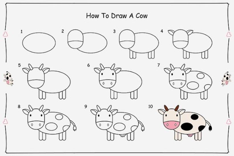 vaca vaquita dibujos fáciles de animal de granja para hacer a lápiz con niños paso a paso