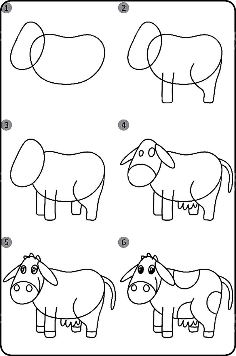 vaca vaquita lechera dibujos fáciles de animales para hacer a lápiz con niños paso a paso